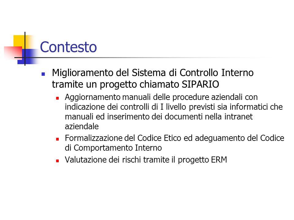 Contesto Miglioramento del Sistema di Controllo Interno tramite un progetto chiamato SIPARIO Aggiornamento manuali delle procedure aziendali con indic