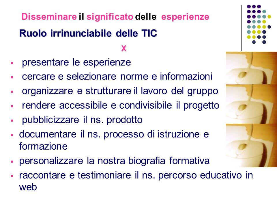 Disseminare il significato delle esperienze Ruolo irrinunciabile delle TIC X presentare le esperienze cercare e selezionare norme e informazioni organ