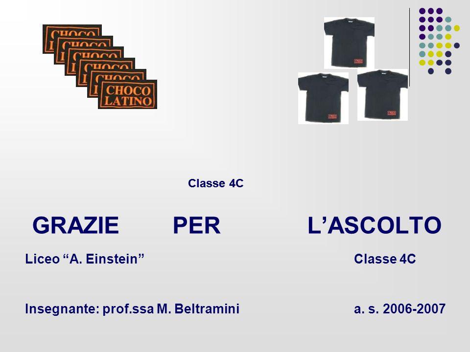 GRAZIE PER LASCOLTO Liceo A. Einstein Classe 4C Insegnante: prof.ssa M. Beltraminia. s. 2006-2007 Classe 4C