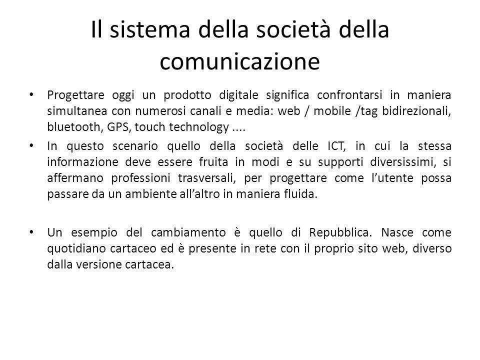 Il sistema della società della comunicazione Progettare oggi un prodotto digitale significa confrontarsi in maniera simultanea con numerosi canali e m