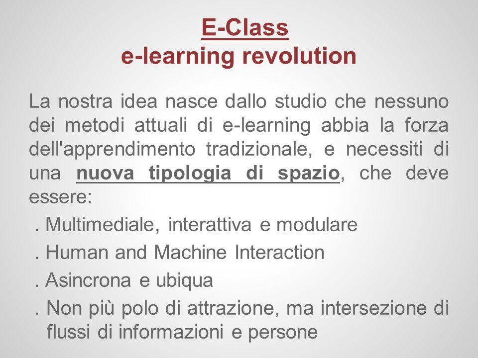 E-Class e-learning revolution La nostra idea nasce dallo studio che nessuno dei metodi attuali di e-learning abbia la forza dell'apprendimento tradizi