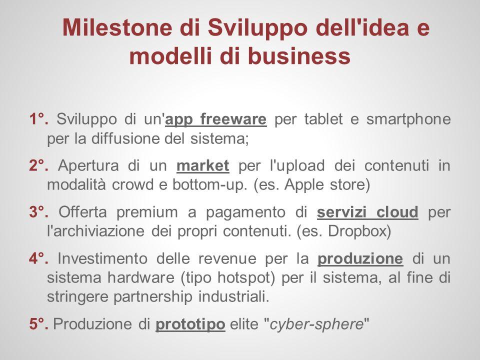 Milestone di Sviluppo dell'idea e modelli di business 1°. Sviluppo di un'app freeware per tablet e smartphone per la diffusione del sistema; 2°. Apert