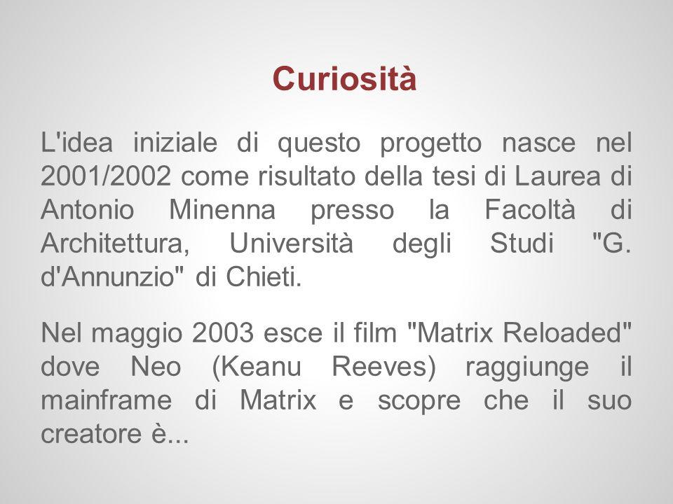 Curiosità L'idea iniziale di questo progetto nasce nel 2001/2002 come risultato della tesi di Laurea di Antonio Minenna presso la Facoltà di Architett