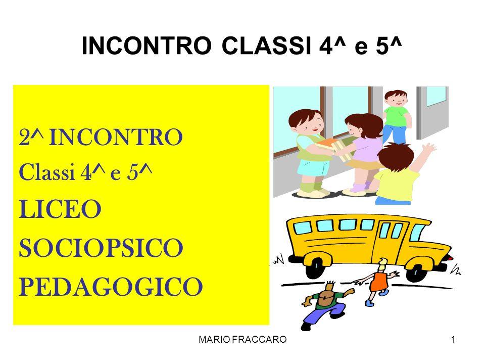 MARIO FRACCARO1 INCONTRO CLASSI 4^ e 5^ 2^ INCONTRO Classi 4^ e 5^ LICEO SOCIOPSICO PEDAGOGICO