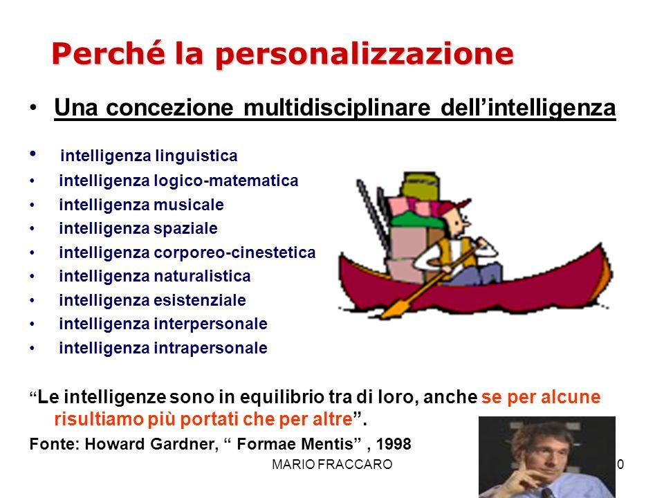 MARIO FRACCARO10 Perché la personalizzazione Una concezione multidisciplinare dellintelligenza intelligenza linguistica intelligenza logico-matematica