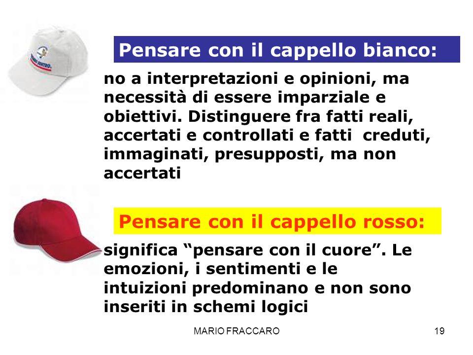MARIO FRACCARO19 Pensare con il cappello bianco: no a interpretazioni e opinioni, ma necessità di essere imparziale e obiettivi. Distinguere fra fatti