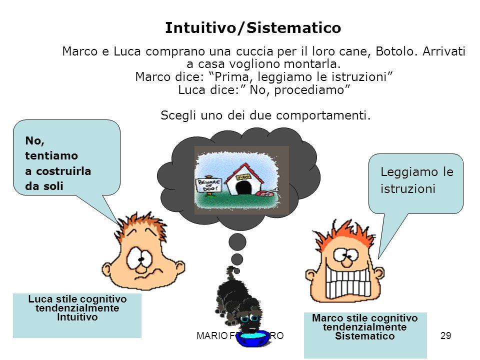 MARIO FRACCARO29 No, tentiamo a costruirla da soli Leggiamo le istruzioni Luca stile cognitivo tendenzialmente Intuitivo Marco stile cognitivo tendenz