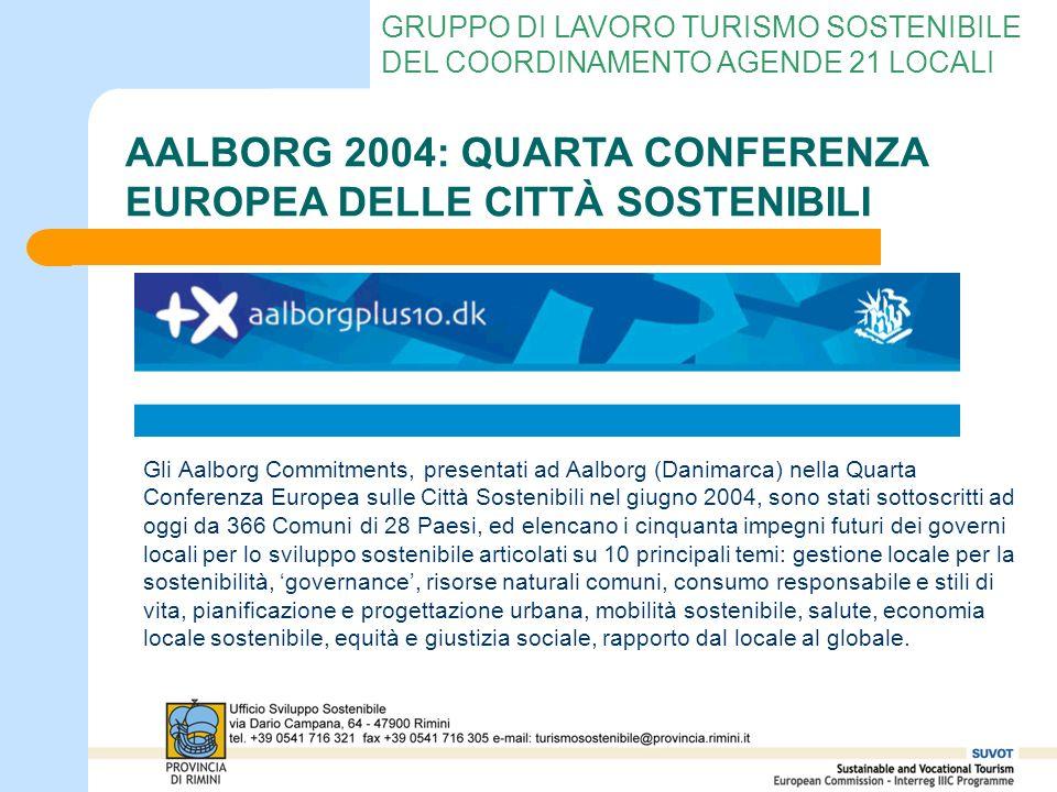 GRUPPO DI LAVORO TURISMO SOSTENIBILE DEL COORDINAMENTO AGENDE 21 LOCALI AALBORG 2004: QUARTA CONFERENZA EUROPEA DELLE CITTÀ SOSTENIBILI Gli Aalborg Co
