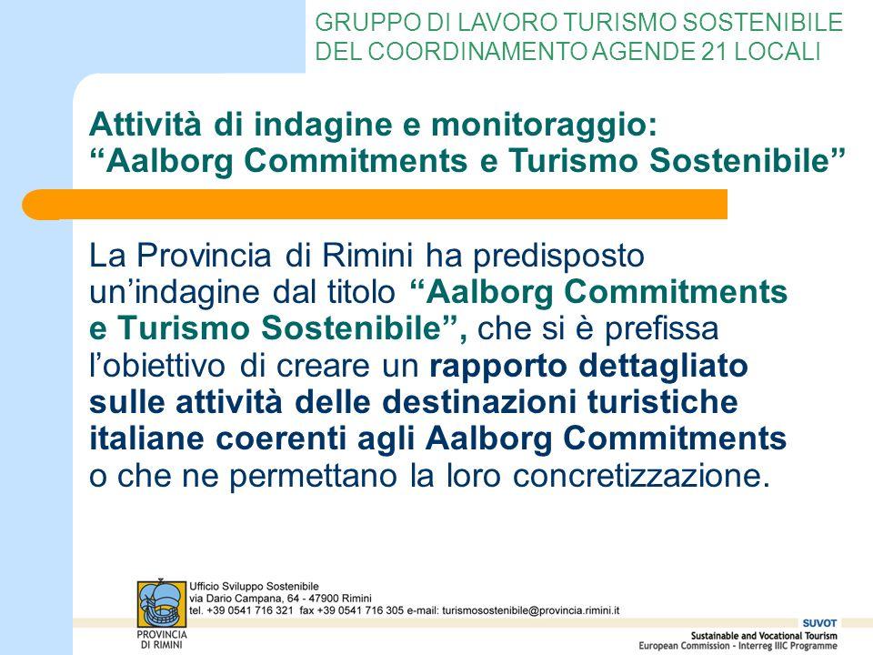 GRUPPO DI LAVORO TURISMO SOSTENIBILE DEL COORDINAMENTO AGENDE 21 LOCALI La Provincia di Rimini ha predisposto unindagine dal titolo Aalborg Commitment