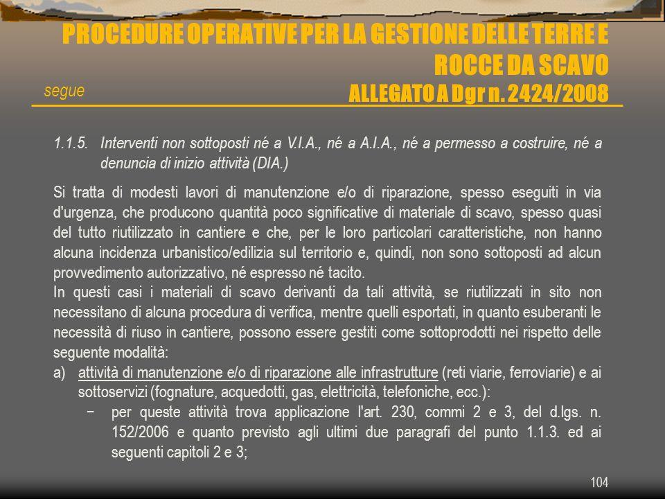104 PROCEDURE OPERATIVE PER LA GESTIONE DELLE TERRE E ROCCE DA SCAVO ALLEGATO A Dgr n. 2424/2008 1.1.5.Interventi non sottoposti né a V.I.A., né a A.I