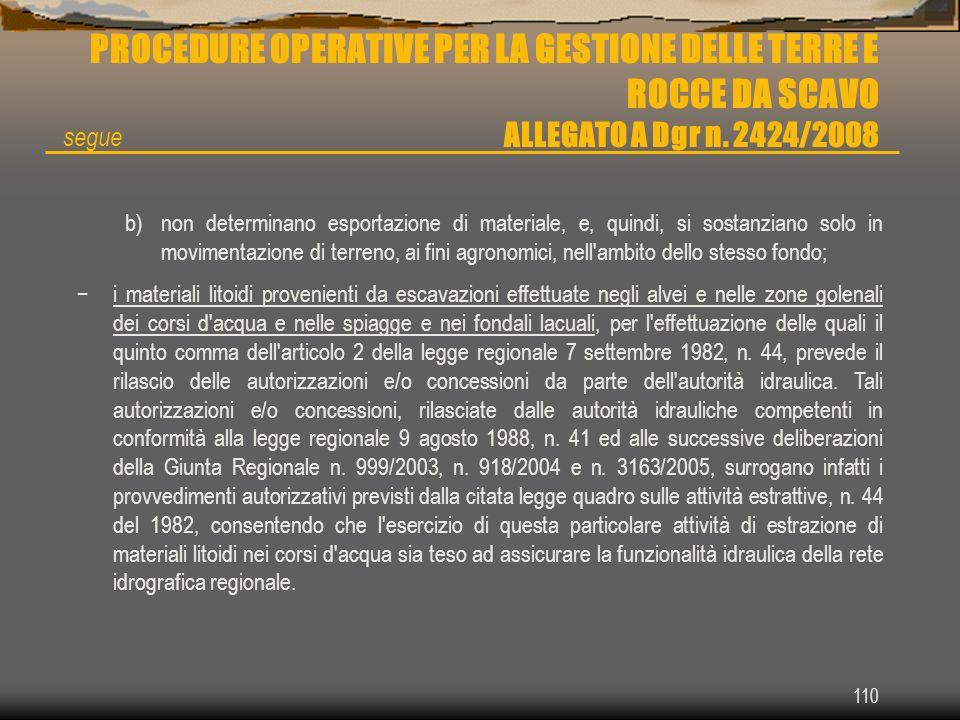 110 PROCEDURE OPERATIVE PER LA GESTIONE DELLE TERRE E ROCCE DA SCAVO ALLEGATO A Dgr n. 2424/2008 b)non determinano esportazione di materiale, e, quind