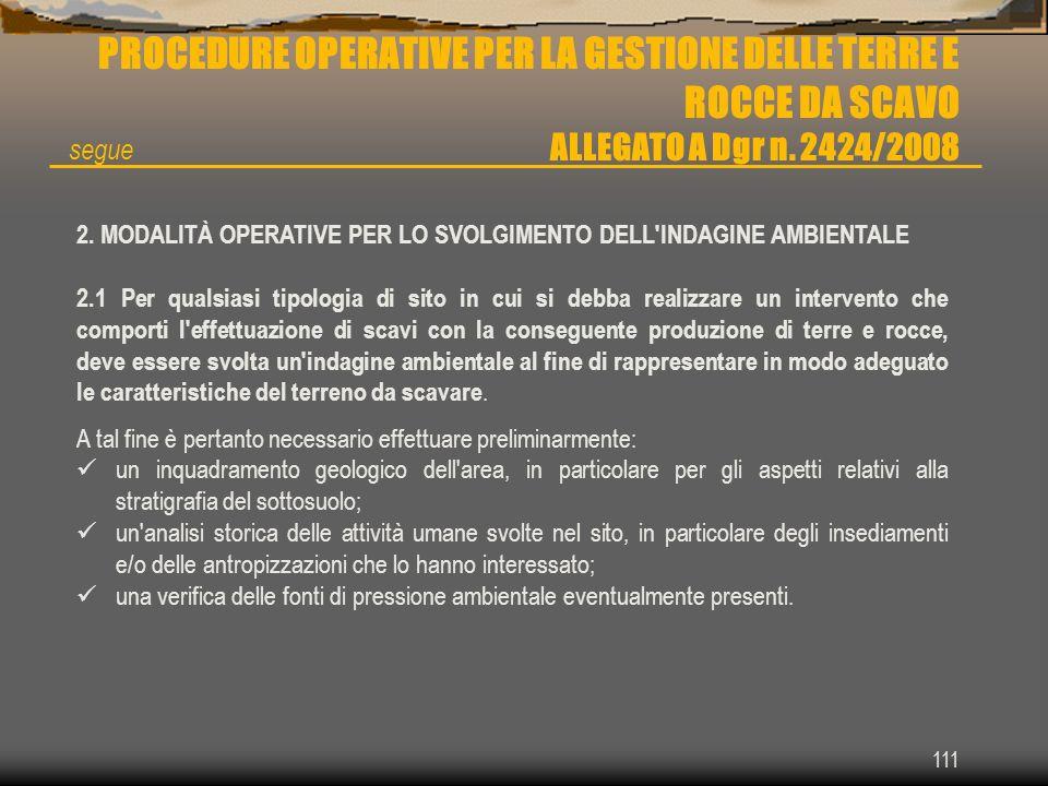 111 PROCEDURE OPERATIVE PER LA GESTIONE DELLE TERRE E ROCCE DA SCAVO ALLEGATO A Dgr n. 2424/2008 2. MODALITÀ OPERATIVE PER LO SVOLGIMENTO DELL'INDAGIN