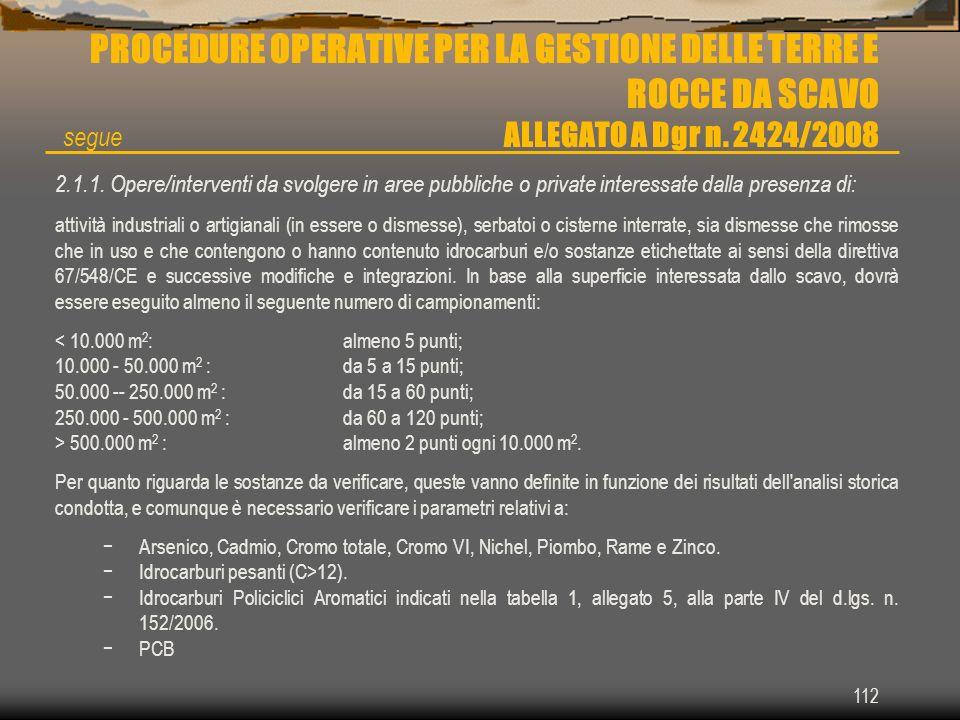 112 PROCEDURE OPERATIVE PER LA GESTIONE DELLE TERRE E ROCCE DA SCAVO ALLEGATO A Dgr n. 2424/2008 2.1.1. Opere/interventi da svolgere in aree pubbliche