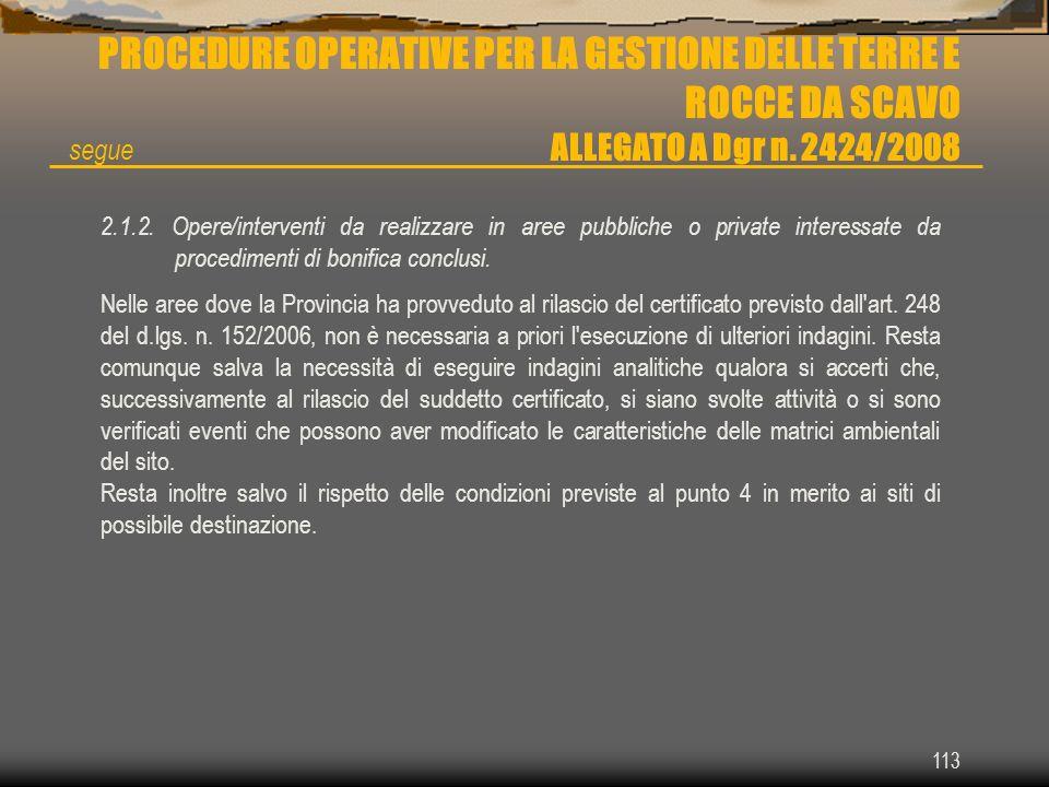 113 PROCEDURE OPERATIVE PER LA GESTIONE DELLE TERRE E ROCCE DA SCAVO ALLEGATO A Dgr n. 2424/2008 2.1.2. Opere/interventi da realizzare in aree pubblic