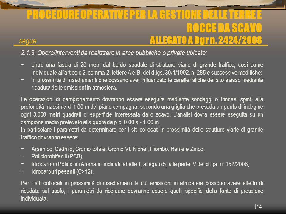 114 PROCEDURE OPERATIVE PER LA GESTIONE DELLE TERRE E ROCCE DA SCAVO ALLEGATO A Dgr n. 2424/2008 2.1.3. Opere/interventi da realizzare in aree pubblic