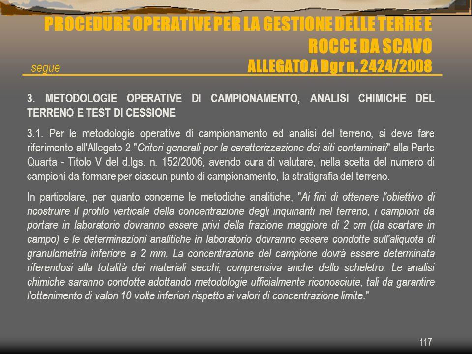 117 PROCEDURE OPERATIVE PER LA GESTIONE DELLE TERRE E ROCCE DA SCAVO ALLEGATO A Dgr n. 2424/2008 3. METODOLOGIE OPERATIVE DI CAMPIONAMENTO, ANALISI CH