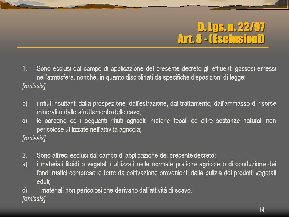 14 D. Lgs. n. 22/97 Art. 8 - (Esclusioni) 1.Sono esclusi dal campo di applicazione del presente decreto gli effluenti gassosi emessi nell'atmosfera, n