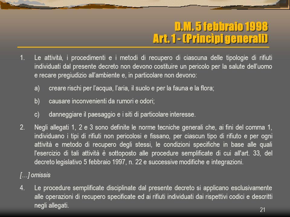 21 D.M. 5 febbraio 1998 Art. 1 - (Princìpi generali) 1.Le attività, i procedimenti e i metodi di recupero di ciascuna delle tipologie di rifiuti indiv