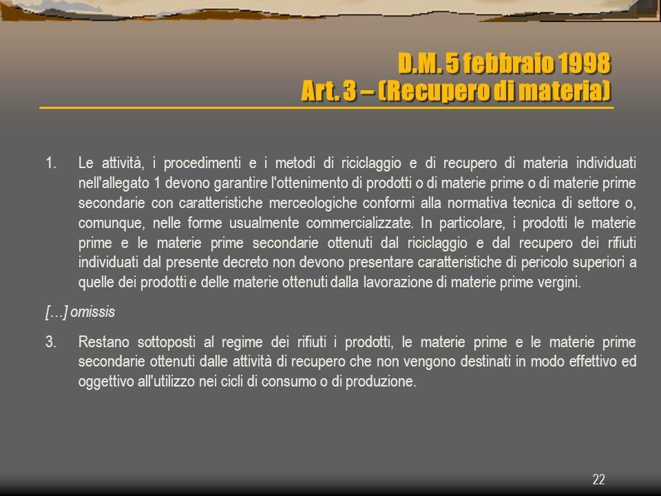 22 D.M. 5 febbraio 1998 Art. 3 – (Recupero di materia) 1.Le attività, i procedimenti e i metodi di riciclaggio e di recupero di materia individuati ne