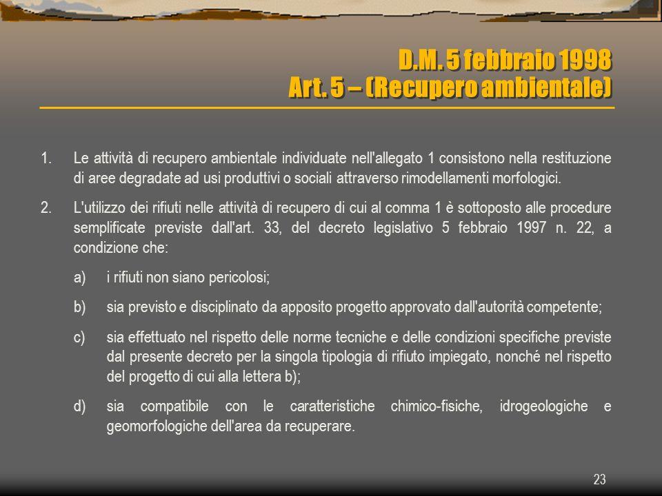 23 D.M. 5 febbraio 1998 Art. 5 – (Recupero ambientale) 1.Le attività di recupero ambientale individuate nell'allegato 1 consistono nella restituzione