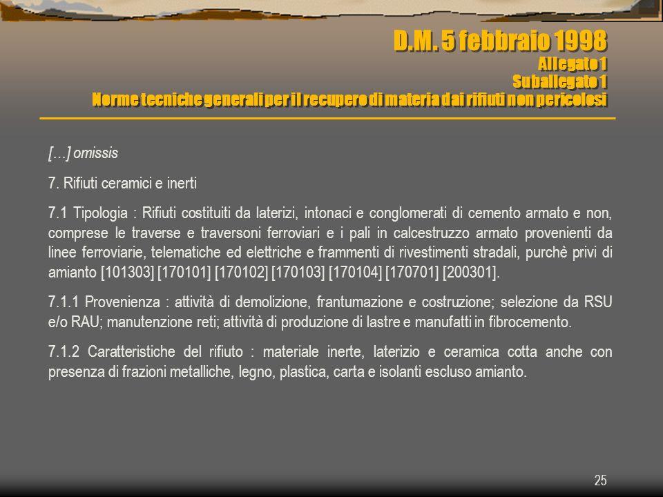 25 D.M. 5 febbraio 1998 Allegato 1 Suballegato 1 Norme tecniche generali per il recupero di materia dai rifiuti non pericolosi […] omissis 7. Rifiuti