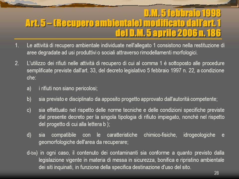 28 D.M. 5 febbraio 1998 Art. 5 – (Recupero ambientale) modificato dallart. 1 del D.M. 5 aprile 2006 n. 186 1.Le attività di recupero ambientale indivi