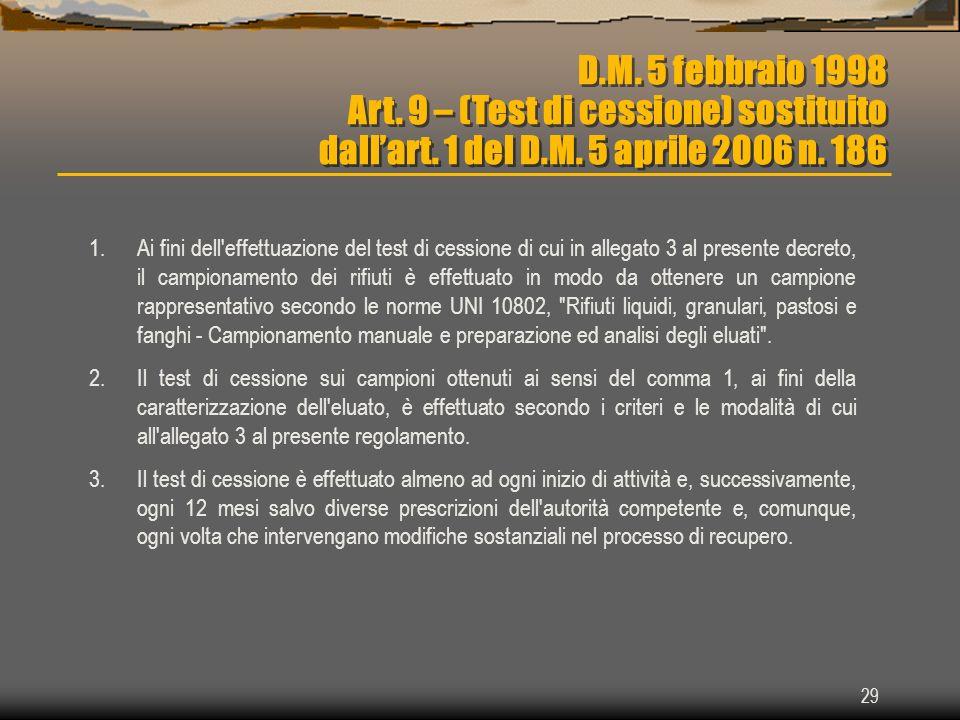 29 D.M. 5 febbraio 1998 Art. 9 – (Test di cessione) sostituito dallart. 1 del D.M. 5 aprile 2006 n. 186 1.Ai fini dell'effettuazione del test di cessi