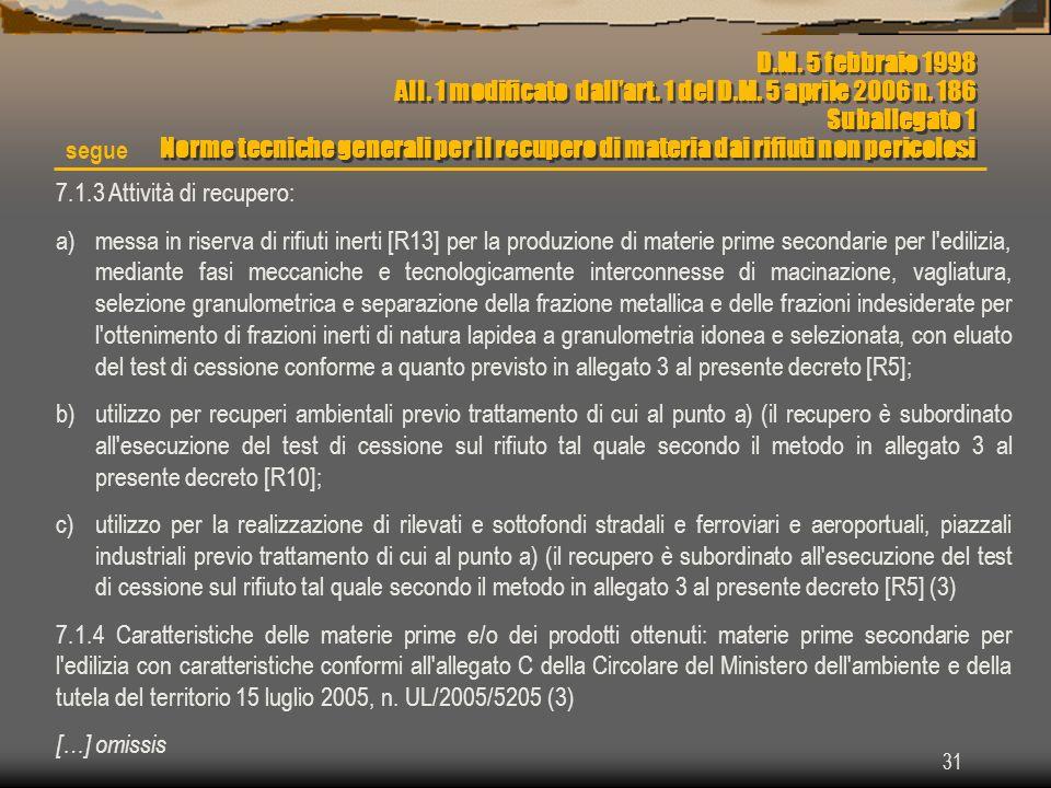 31 7.1.3 Attività di recupero: a)messa in riserva di rifiuti inerti [R13] per la produzione di materie prime secondarie per l'edilizia, mediante fasi