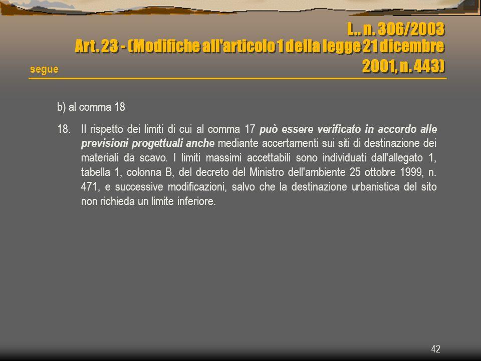 42 L.. n. 306/2003 Art. 23 - (Modifiche all'articolo 1 della legge 21 dicembre 2001, n. 443) segue b) al comma 18 18.Il rispetto dei limiti di cui al