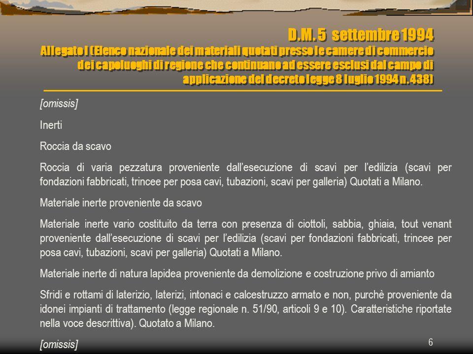 6 D.M. 5 settembre 1994 Allegato I (Elenco nazionale dei materiali quotati presso le camere di commercio dei capoluoghi di regione che continuano ad e