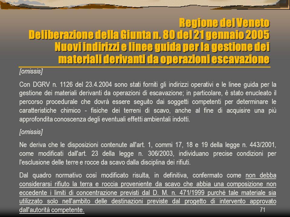 71 Regione del Veneto Deliberazione della Giunta n. 80 del 21 gennaio 2005 Nuovi indirizzi e linee guida per la gestione dei materiali derivanti da op