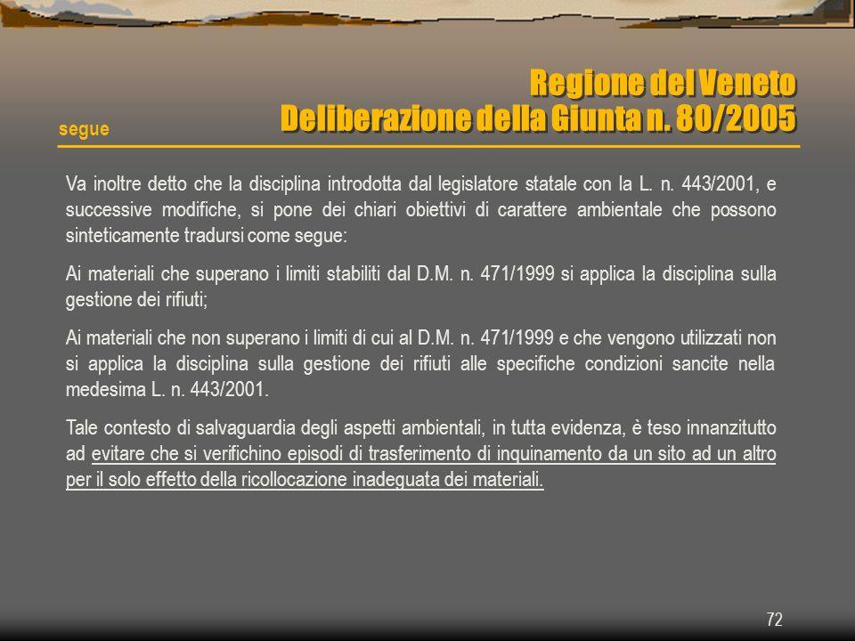 72 Regione del Veneto Deliberazione della Giunta n. 80/2005 segue Va inoltre detto che la disciplina introdotta dal legislatore statale con la L. n. 4