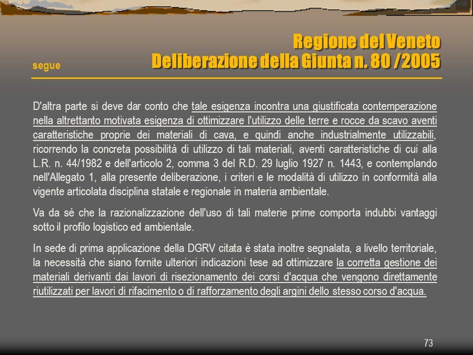 73 Regione del Veneto Deliberazione della Giunta n. 80 /2005 segue D'altra parte si deve dar conto che tale esigenza incontra una giustificata contemp