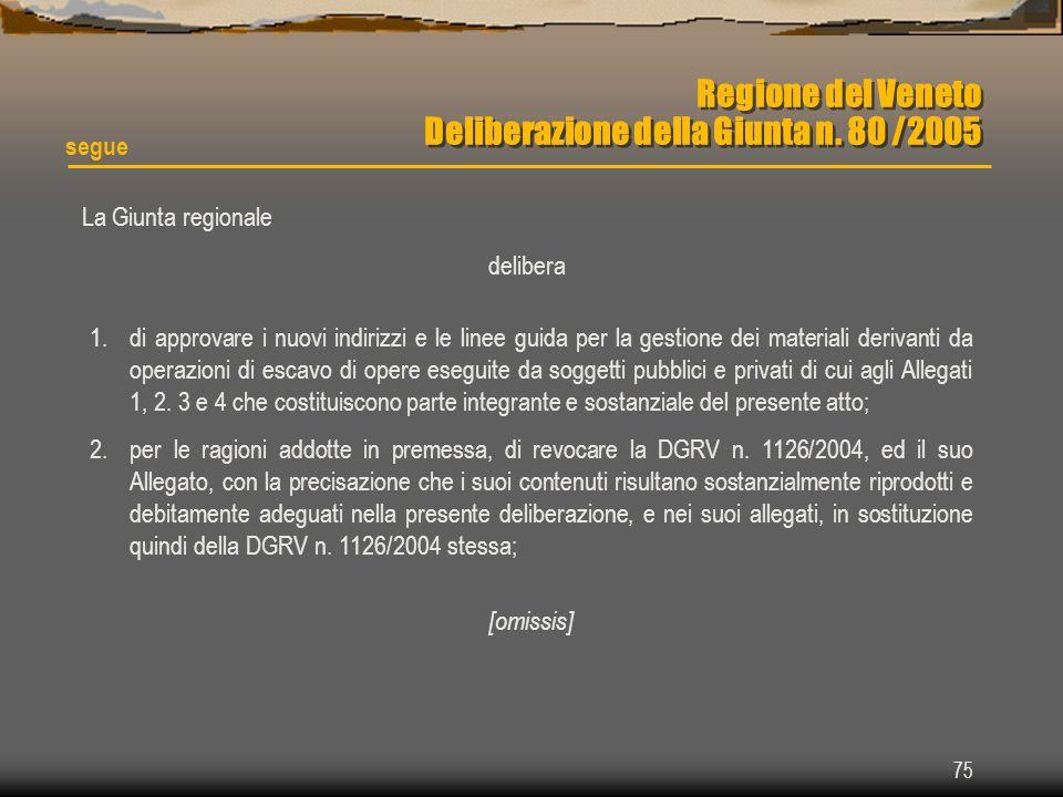 75 Regione del Veneto Deliberazione della Giunta n. 80 /2005 segue La Giunta regionale delibera 1.di approvare i nuovi indirizzi e le linee guida per