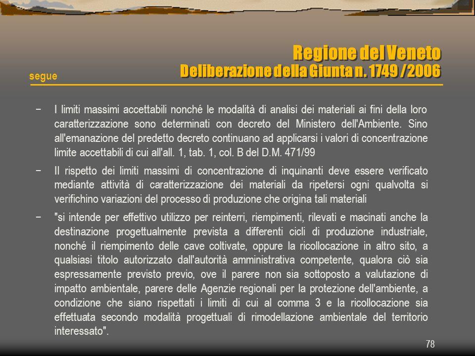 78 Regione del Veneto Deliberazione della Giunta n. 1749 /2006 I limiti massimi accettabili nonché le modalità di analisi dei materiali ai fini della