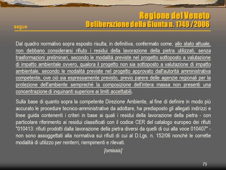 79 Regione del Veneto Deliberazione della Giunta n. 1749 /2006 Dal quadro normativo sopra esposto risulta, in definitiva, confermato come, allo stato