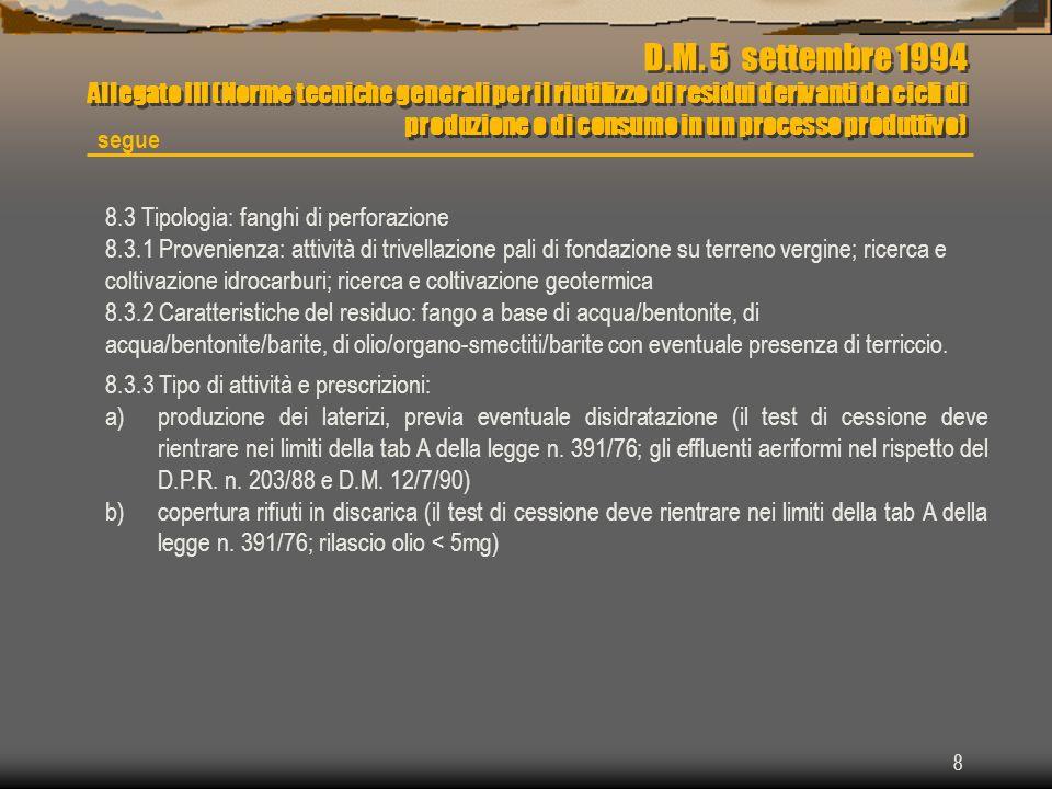 8 D.M. 5 settembre 1994 Allegato III (Norme tecniche generali per il riutilizzo di residui derivanti da cicli di produzione o di consumo in un process