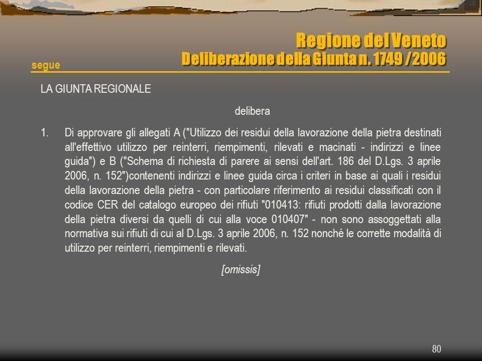 80 Regione del Veneto Deliberazione della Giunta n. 1749 /2006 LA GIUNTA REGIONALE delibera 1.Di approvare gli allegati A (