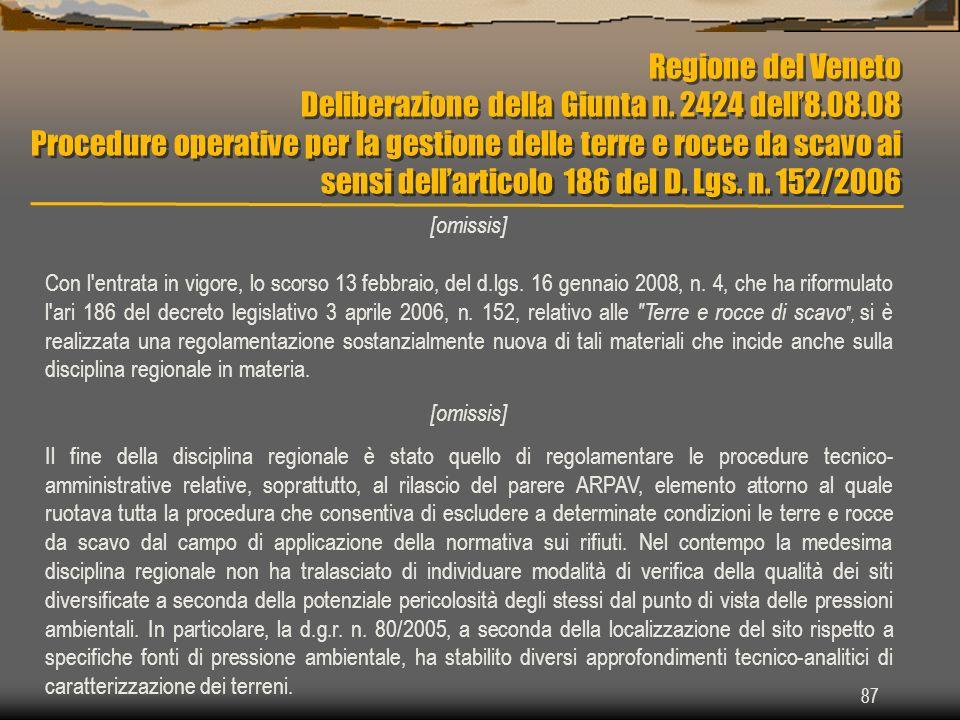 Regione del Veneto Deliberazione della Giunta n. 2424 dell8.08.08 Procedure operative per la gestione delle terre e rocce da scavo ai sensi dellartico