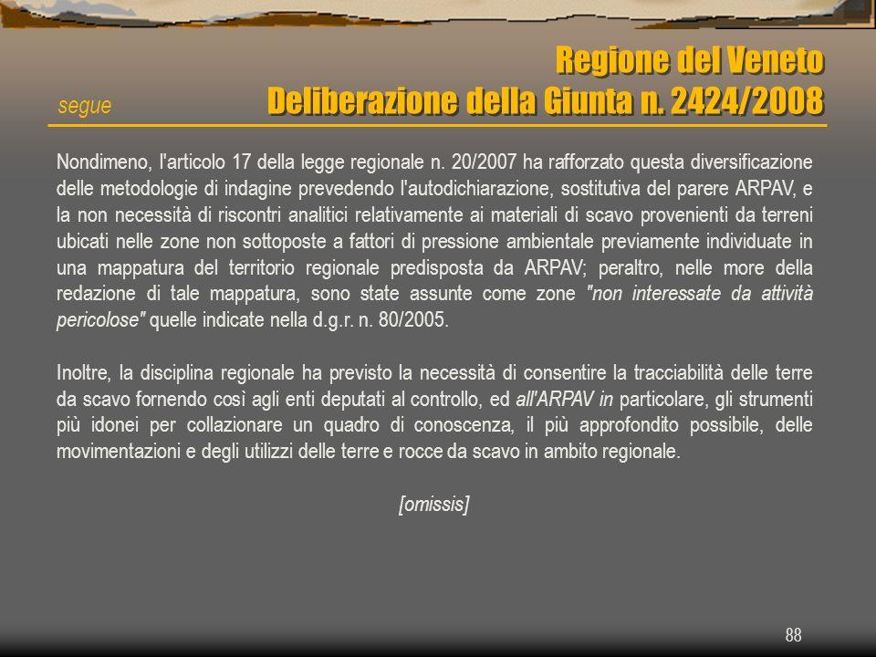 Regione del Veneto Deliberazione della Giunta n. 2424/2008 88 segue Nondimeno, l'articolo 17 della legge regionale n. 20/2007 ha rafforzato questa div