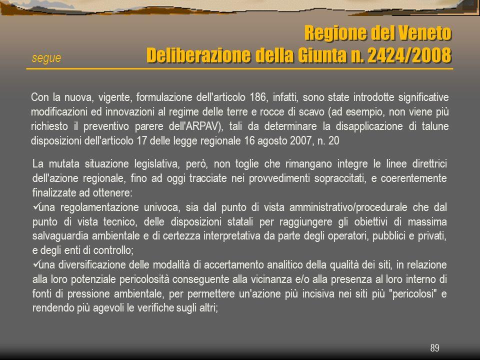 89 Regione del Veneto Deliberazione della Giunta n. 2424/2008 segue Con la nuova, vigente, formulazione dell'articolo 186, infatti, sono state introdo