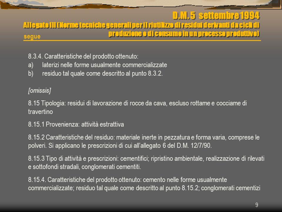 9 D.M. 5 settembre 1994 Allegato III (Norme tecniche generali per il riutilizzo di residui derivanti da cicli di produzione o di consumo in un process