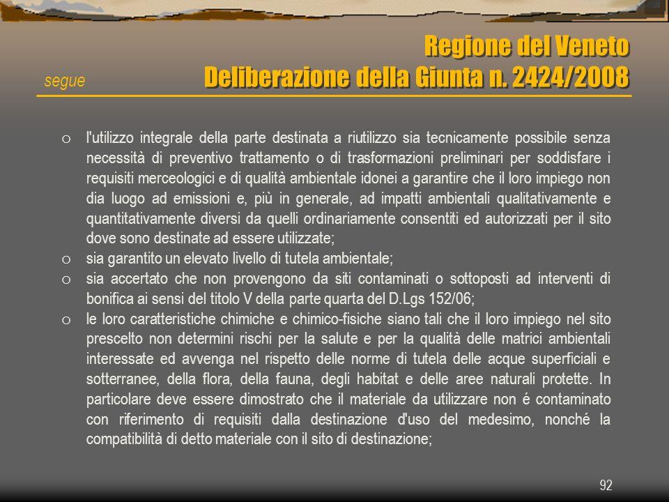 92 Regione del Veneto Deliberazione della Giunta n. 2424/2008 segue o l'utilizzo integrale della parte destinata a riutilizzo sia tecnicamente possibi
