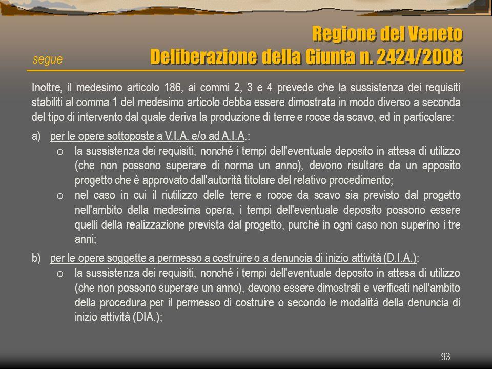 93 Regione del Veneto Deliberazione della Giunta n. 2424/2008 segue Inoltre, il medesimo articolo 186, ai commi 2, 3 e 4 prevede che la sussistenza de