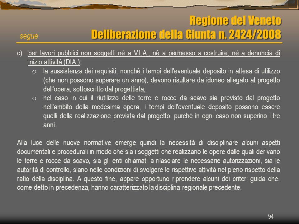 94 Regione del Veneto Deliberazione della Giunta n. 2424/2008 segue c)per lavori pubblici non soggetti né a V.I.A., né a permesso a costruire, né a de