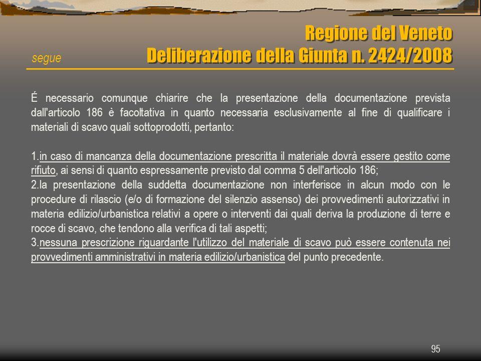 95 Regione del Veneto Deliberazione della Giunta n. 2424/2008 segue É necessario comunque chiarire che la presentazione della documentazione prevista