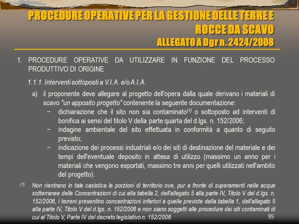 PROCEDURE OPERATIVE PER LA GESTIONE DELLE TERRE E ROCCE DA SCAVO ALLEGATO A Dgr n. 2424/2008 99 1.PROCEDURE OPERATIVE DA UTILIZZARE IN FUNZIONE DEL PR