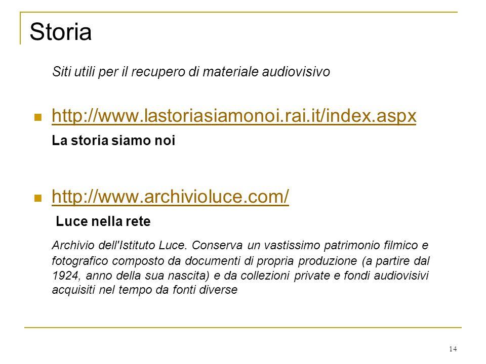 14 Storia Siti utili per il recupero di materiale audiovisivo http://www.lastoriasiamonoi.rai.it/index.aspx La storia siamo noi http://www.archivioluce.com/ Luce nella rete Archivio dell Istituto Luce.