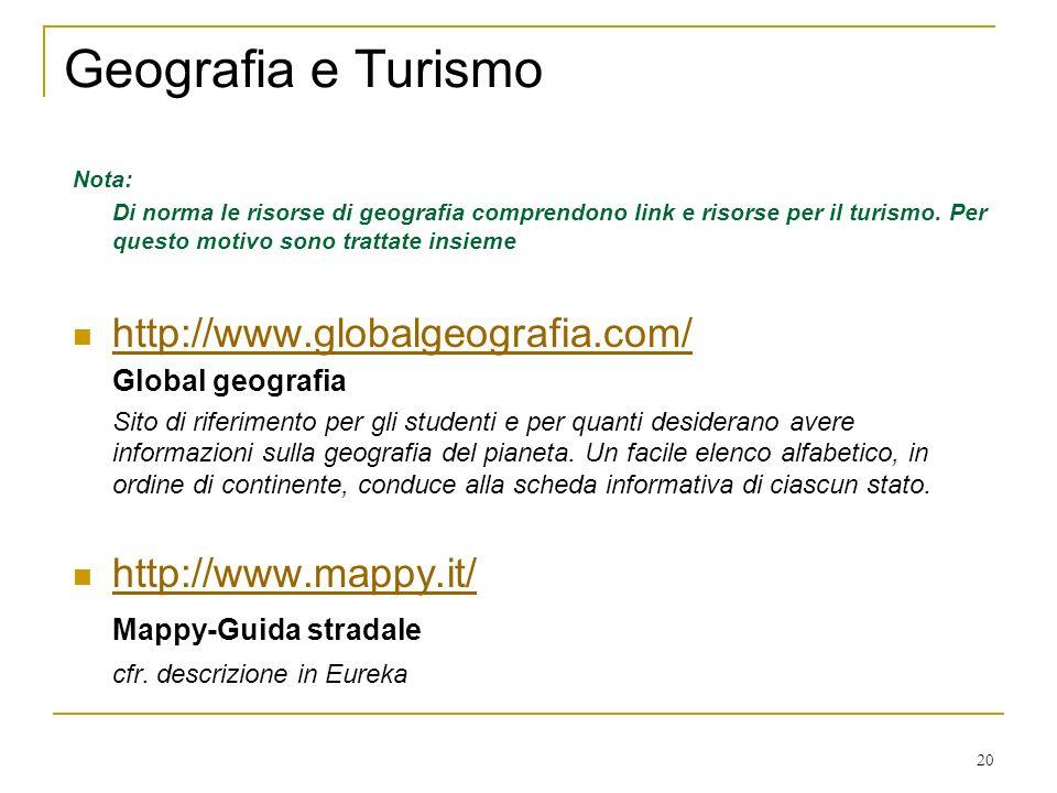 20 Geografia e Turismo Nota: Di norma le risorse di geografia comprendono link e risorse per il turismo.