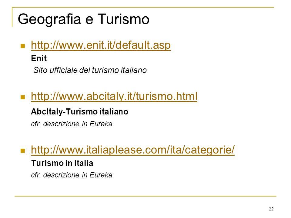 22 Geografia e Turismo http://www.enit.it/default.asp Enit Sito ufficiale del turismo italiano http://www.abcitaly.it/turismo.html AbcItaly-Turismo italiano cfr.